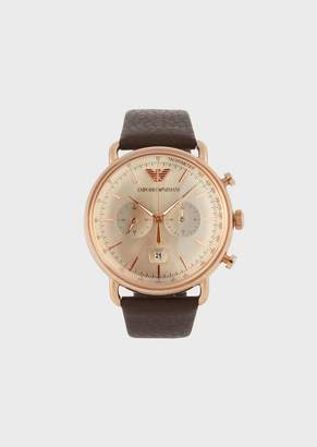 Emporio Armani Stopwatch In Rose Gold Stainless Steel And Leather 11106