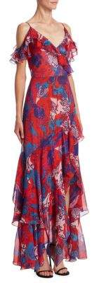 Peter Pilotto Georgette Cold-Shoulder Ruffle Gown