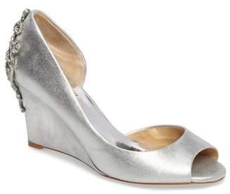 Badgley Mischka Meagan Embellished Peep Toe Wedge - Wide Width Available