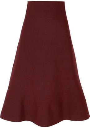 Agnona Merino Wool-blend Midi Skirt - Burgundy