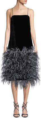 Prabal Gurung Iliana Square-Neck Velvet Ostrich-Feather Skirt Dress