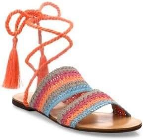 Schutz Zendy Crochet Ankle-Wrap Slides