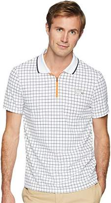 Lacoste Men's Short Sleeve Pique Ultra Dry with Check Print and Contrast Zipper Polo
