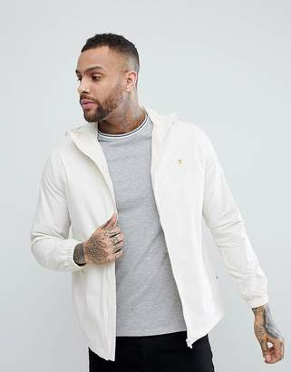 Farah Smith Zip Through Hooded Jacket in Off White
