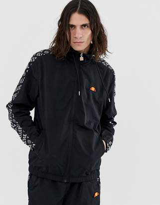 Ellesse Melfi co-ord track jacket with repeat logo side stripe in black