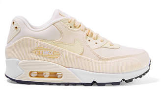 Nike Air Max 90 Leather, Corduroy And Mesh Sneakers - Cream