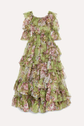 aff1fa24587 Dolce   Gabbana Ruffled Tiered Floral-print Silk-chiffon Gown - Green