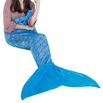 LANGRIA Mermaid Tail Blanket for Adults and Children Soft Warm All Season Snuggle Sleeping Life-Like Little Mermaid Glittering Flannel Throw Blanket for Bed Sofa Couch (60 x 25 inches