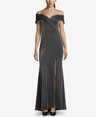 Xscape Evenings Off-The-Shoulder Glitter Gown
