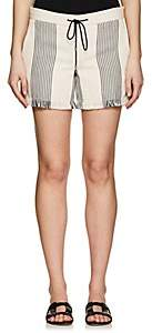 Derek Lam WOMEN'S COTTON-BLEND BASKET-WEAVE SHORTS-BLACK-NATURAL SIZE 44 IT