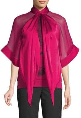 Givenchy Silk-Blend Kimono-Sleeve Graphic Blouse