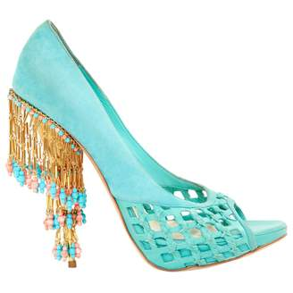 3fea22d239d3 Christian Dior Turquoise Suede Heels
