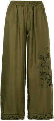 Gold Hawk embroidered cropped trousers