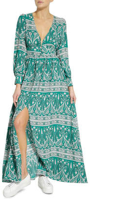 Glamorous Green White Paisley Maxi Dress