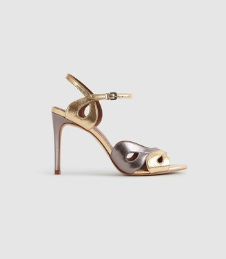 Reiss SAVONA METALLIC STRAPPY HIGH HEELED SANDALS Metallic