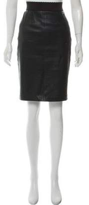 Dolce & Gabbana Leather Knee-Length Skirt green Leather Knee-Length Skirt