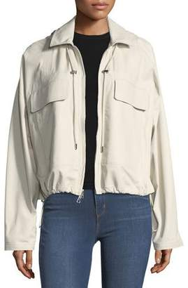 Theory Hooded Cropped Anorak Napa Leather Jacket