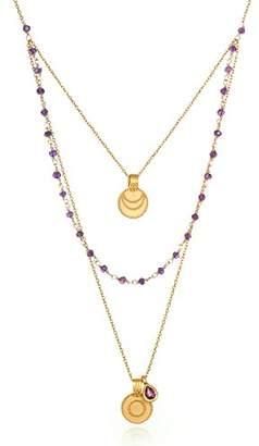 Satya Jewelry Women's Amethyst Gold Sun & Moon Triple Chain Pendant Necklace 22-Inch