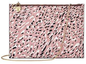 Aspinal of London Soho Double Sided Clutch In Leopard Digi Print Mahogany Polish
