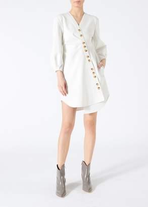 Tibi Bond Stretch Knit Asymmentrical Shirtdress