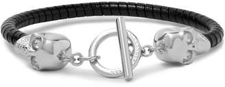 Alexander McQueen Silver-Tone and Leather Skull Bracelet