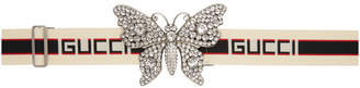 Gucci Ecru Large Crystal Butterfly Elastic Belt