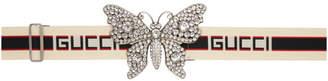 Gucci Ecru Large Crystal Butterfly Elastic Belt