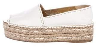 Prada Leather Peep-Toe Espadrilles Sandals