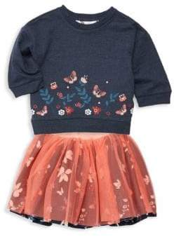 Petit Lem Little Girl's & Girl's Two-Piece Floral Sweater and Tutu Skirt Set
