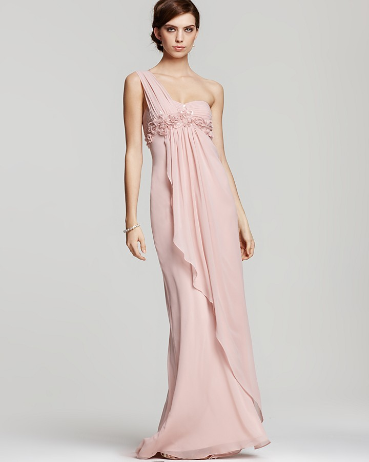 LM by Mignon Cascade One-Shoulder Gown with Rosettes