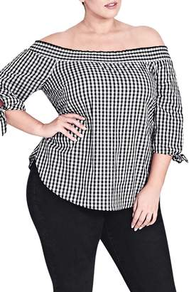 City Chic Gingham Off the Shoulder Top