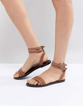 Dune Tan Leather Studded Ankle Strap Sandal