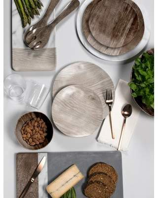 Union Rustic Marcotte French Oak 12 Piece Melamine Dinnerware Set, Service for 4