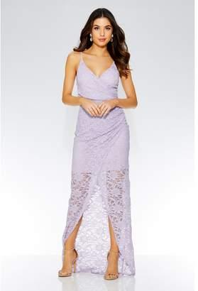 Quiz Lilac Glitter Wrap Front Maxi Dress