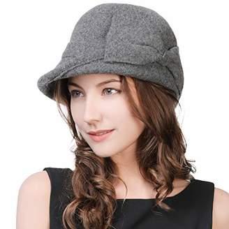 Cloche Jeff & Aimy Vintage Wool Felt Bucket Hat for Women 1920s Winter Bowler Hat Bow Knot Black 56-59CM