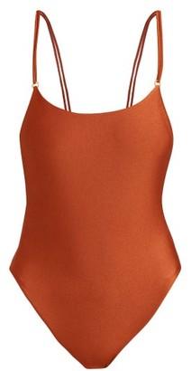 JADE SWIM Reel Double Strap Swimsuit - Womens - Dark Red