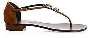 Giuseppe Zanotti Women's Swarovski Crystal Suede Thong Sandals