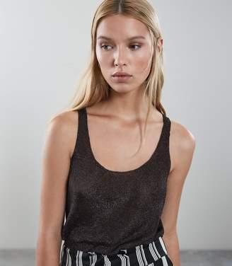 Reiss Lilian Metallic Knitted V-Neck Top