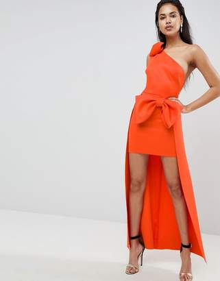 Asos Bow Shoulder High Low Maxi Dress