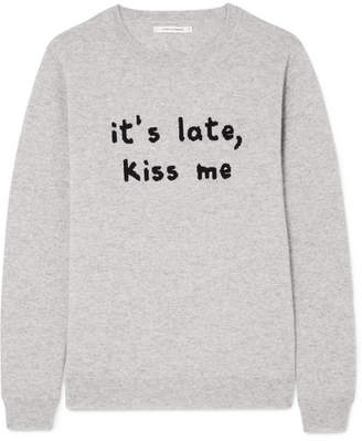 Chinti and Parker Kiss Me Intarsia Cashmere Sweater - Gray