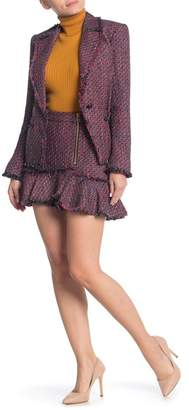 Veronica Beard Madra Tweed Frayed Hem Skirt