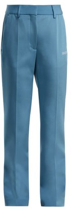 Off-White Off White Straight Leg Crepe Trousers - Womens - Blue