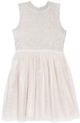 Zunie Mock Neck Shimmer Ruched Dress