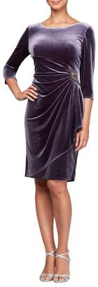 Alex Evenings Side Ruched Velvet Cocktail Dress