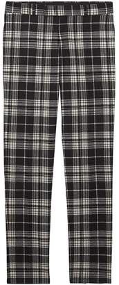 Burberry Slim Fit Tartan Wool Cashmere Tailored Trousers