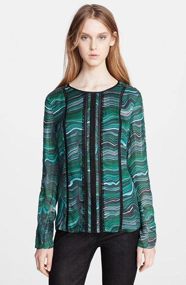 Veronica Beard Malachite Print Silk Blouse
