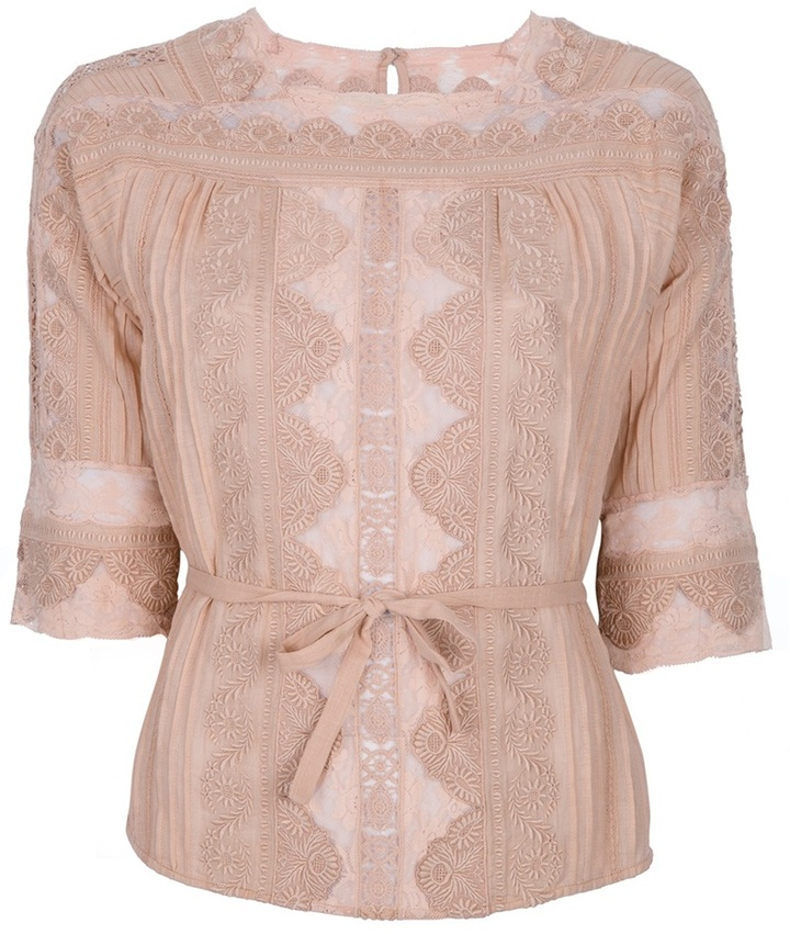 Vanessa Bruno embroidered blouse with belt