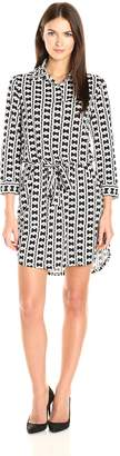 Laundry by Shelli Segal Women's 3/4 Sleeve Printed Shirt Dress with Patch Pockets