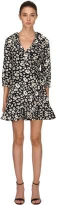 Rixo London Daisy Printed Silk Wrap Dress