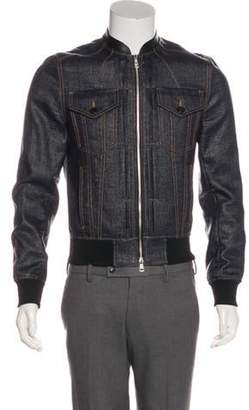 Juun.J Leather-Trimmed Bomber Jacket w/ Tags black Leather-Trimmed Bomber Jacket w/ Tags